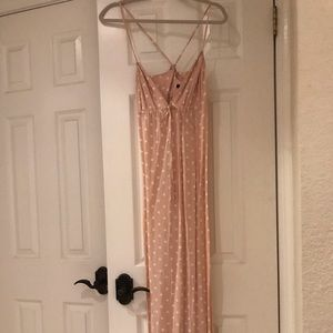 Blush with White Polka Dot Maxi Dress